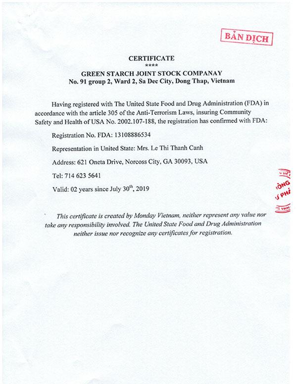 FDA-Certificate-translate-eng